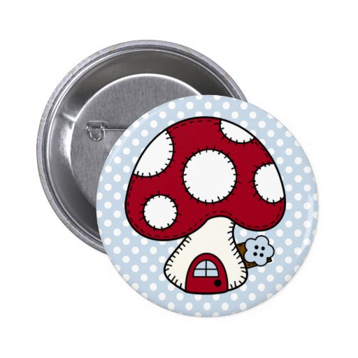 Stitched Design Red Mushroom House Fairy Home Buttons