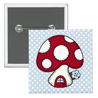 Stitched Design Red Mushroom House Fairy Home Pinback Button