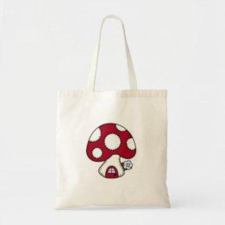 Stitched Design Red Mushroom House Fairy Home Bag