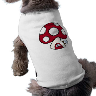 Stitched Design Red Mushroom House Fairy Home Dog Tshirt