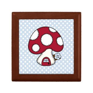 Stitched Design Red Mushroom House Fairy Home Keepsake Box
