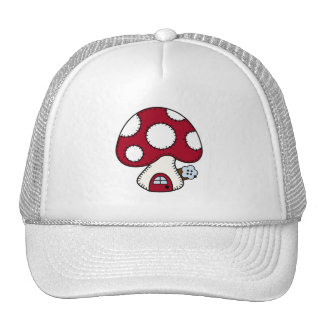 Stitched Design Red Mushroom House Fairy Home Trucker Hats