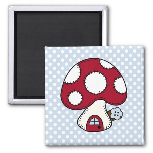 Stitched Design Red Mushroom House Fairy Home Magnet
