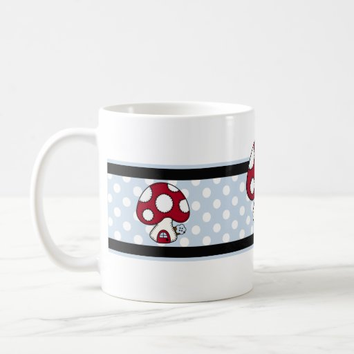 Stitched Design Red Mushroom House Fairy Home Mugs