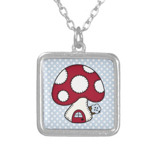 Stitched Design Red Mushroom House Fairy Home Necklaces
