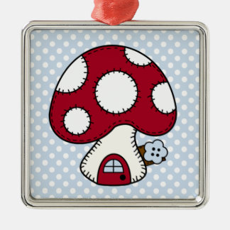 Stitched Design Red Mushroom House Fairy Home Silver-Colored Square Decoration