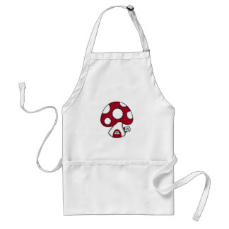 Stitched Design Red Mushroom House Fairy Home Standard Apron