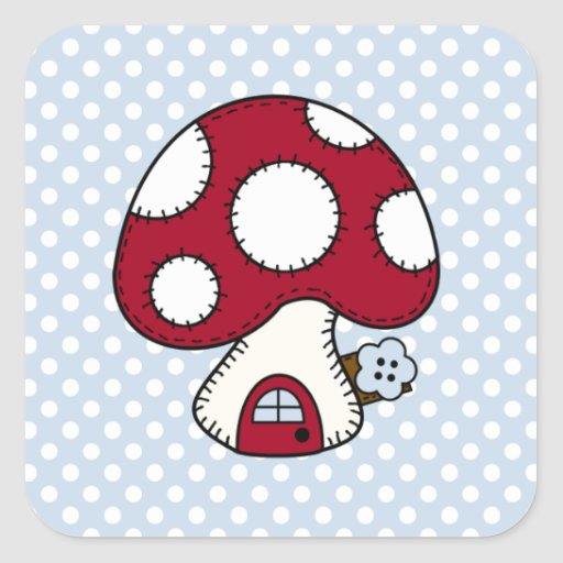 Stitched Design Red Mushroom House Fairy Home Square Stickers