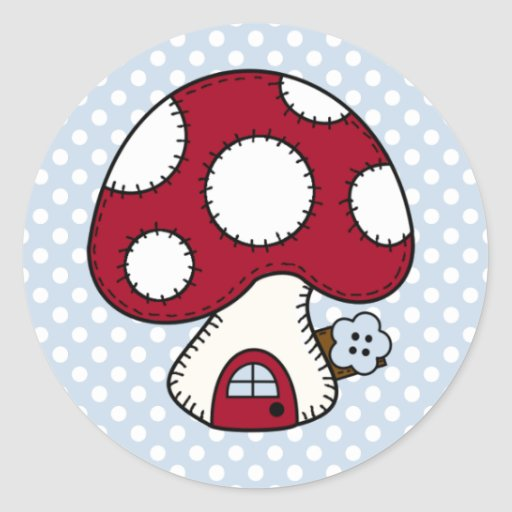 Stitched Design Red Mushroom House Fairy Home Stickers