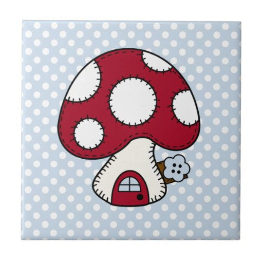 Stitched Design Red Mushroom House Fairy Home Tile