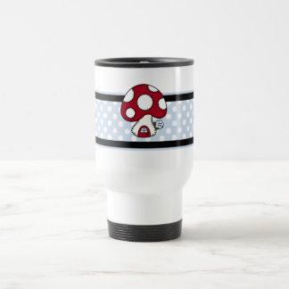 Stitched Design Red Mushroom House Fairy Home Travel Mug