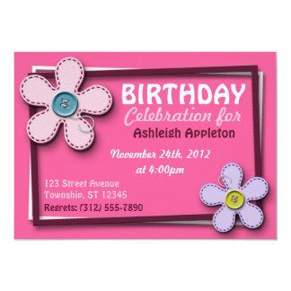 "Stitched Flowers Trendy Pink Birthday Invitations 5"" X 7"" Invitation Card"