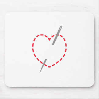 Stitched Heart With Needle Mouse Pad