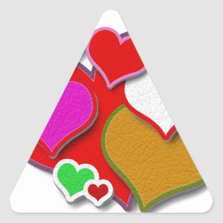 Stitched Leather Hearts Triangle Sticker