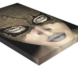 Stitched Mask Female Face Stretched Canvas Print