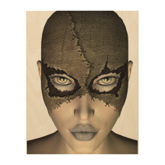 Stitched Mask Female Face Wood Print