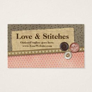 Stitched Ribbon, Burlap, Buttons - Love & Stitches