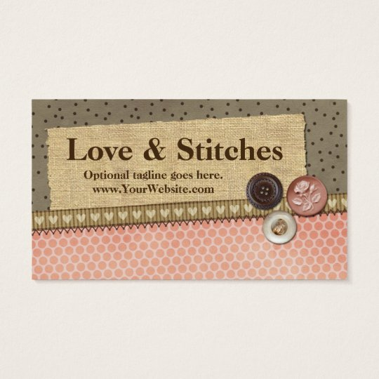 Stitched Ribbon, Burlap, Buttons - Love & Stitches Business Card