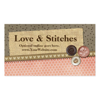 Stitched Ribbon, Burlap, Buttons - Love & Stitches Pack Of Standard Business Cards