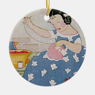 Stitching Girl Christmas Ornament