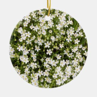 Stitchwort Stellaria Wild Flowers Round Ornament