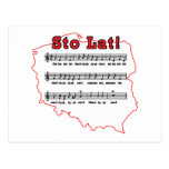 Sto Lat! Song Polish Map Post Cards