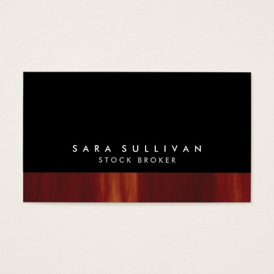Stock Broker Bold Black Abstract Sunset Gradient Business Card