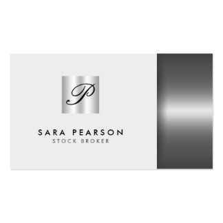 Stock Broker Financial Investment Silver Monogram Pack Of Standard Business Cards