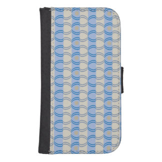 Stock Candystripe Blue Tan Samsung S4 Wallet Case