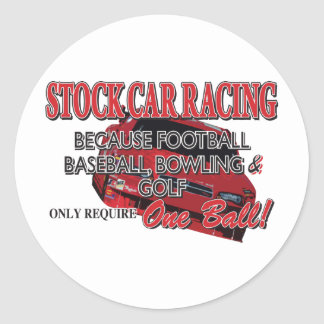 Stock Car Racing Round Sticker
