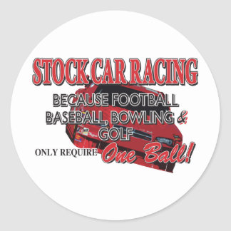 Stock Car Racing Classic Round Sticker