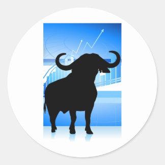 Stock Market Bull Round Sticker