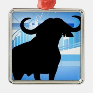 Stock Market Bull Silver-Colored Square Decoration