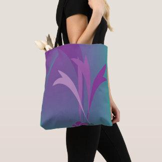 stock market flowers violet tones blue tote bag