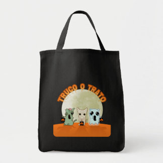 Stock market with monsters of Halloween in Spanish Tote Bag