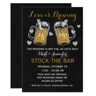 Stock the Bar Bridal Shower Invitation Beer Couple