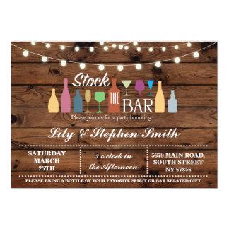 Stock The Bar Wood Engagement Shower Invitation