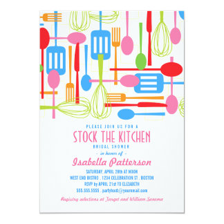 Stock the Kitchen Retro Style Bridal Shower Card