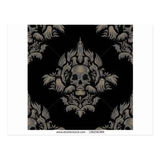 stock vector Victorian Gothic damask pattern Black Postcard