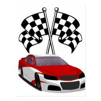 Stockcar Racing & Flags Postcard