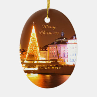 Stockholm, Sweden at Christmas at night Christmas Ornament