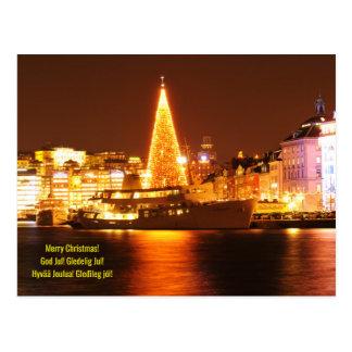 Stockholm, Sweden at Christmas at night Postcard