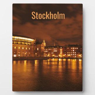 Stockholm, Sweden at night Plaque