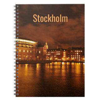 Stockholm, Sweden at night Spiral Notebook
