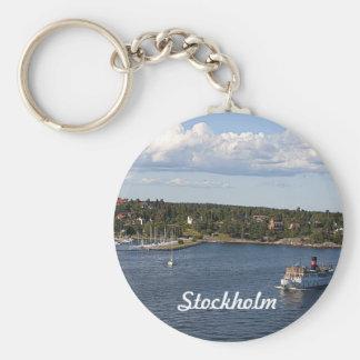 Stockholm Sweden Bay Basic Round Button Key Ring
