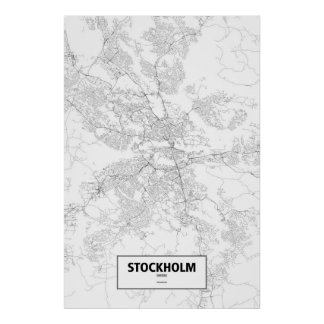 Stockholm, Sweden (black on white) Poster