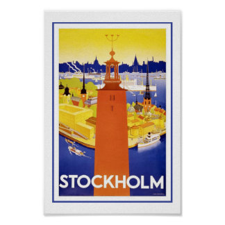 Stockholm Sweden Europe Vintage Travel Posters