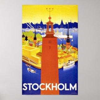 Stockholm Vintage Travel Poster Restored