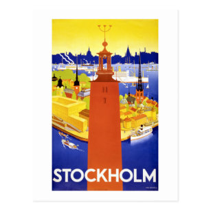 Stockholm Vintage Travel Poster Restored Postcard