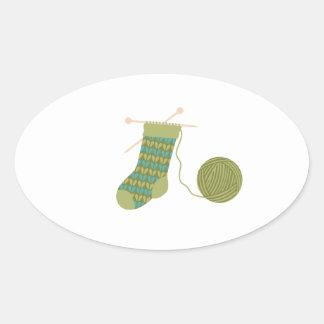 Stocking Knitting Yarn Oval Sticker